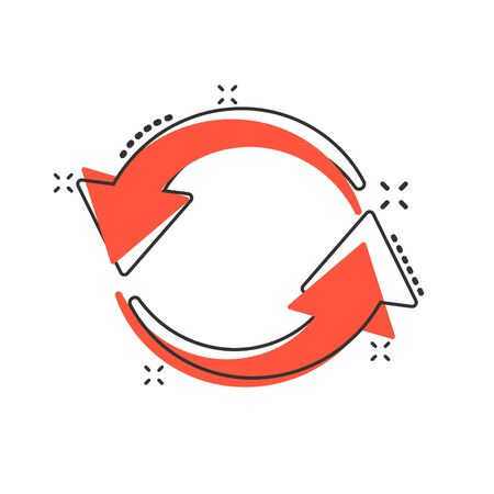 Arrow rotation icon in comic style. Sync action vector cartoon illustration on white isolated background. Refresh button business concept splash effect. Иллюстрация