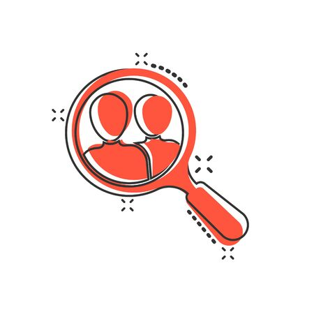 Search job vacancy icon in comic style. Loupe career vector cartoon illustration on white isolated background. Find vacancy business concept splash effect. Stock Illustratie