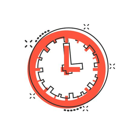 Real time icon in comic style. Clock vector cartoon illustration on white isolated background. Watch business concept splash effect. Illusztráció