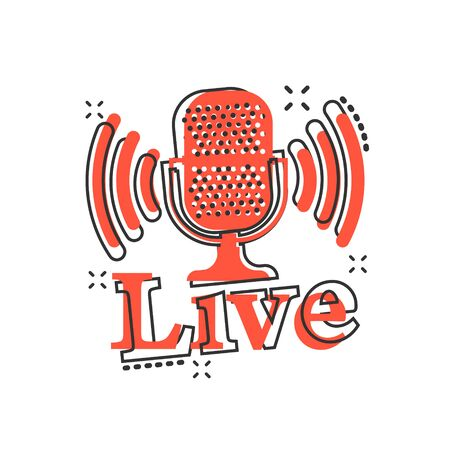 Microphone icon in comic style. Live broadcast vector cartoon illustration on white isolated background. Sound record business concept splash effect.