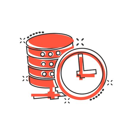 Data center icon in comic style. Clock vector cartoon illustration on white isolated background. Watch business concept splash effect. Illusztráció