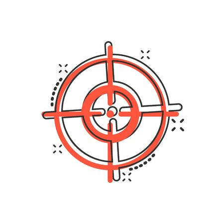 Shooting target vector icon in comic style. Aim sniper symbol cartoon illustration on white background. Target aim business concept splash effect.