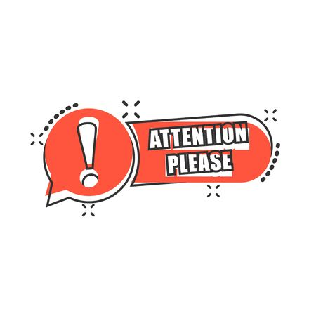 Attention please sign icon in comic style. Warning information vector cartoon illustration on white isolated background. Exclamation business concept splash effect.