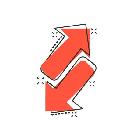 Reverse arrow sign icon in comic style. Refresh vector cartoon illustration on white isolated background. Reload business concept splash effect. 向量圖像