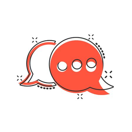 Speak chat sign icon in comic style. Speech bubbles vector cartoon illustration on white isolated background. Team discussion button business concept splash effect.