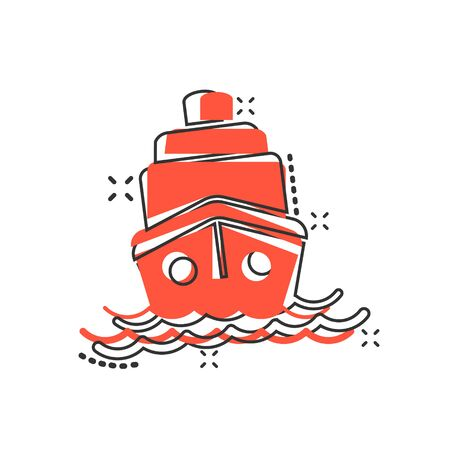 Ship cruise sign icon in comic style. Cargo boat vector cartoon illustration on white isolated background. Vessel business concept splash effect.