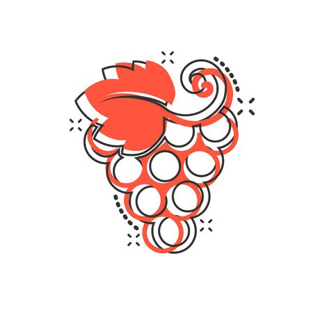 Grape fruits sign icon in comic style. Grapevine vector cartoon illustration on white isolated background. Wine grapes business concept splash effect. Çizim