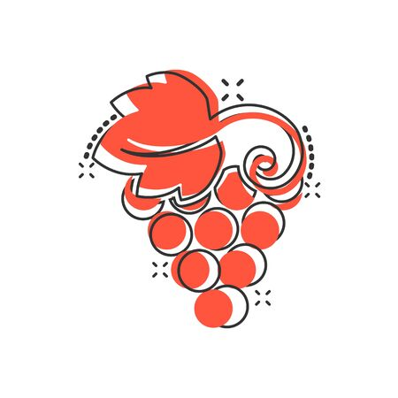Grape fruits sign icon in comic style. Grapevine vector cartoon illustration on white isolated background. Wine grapes business concept splash effect. Иллюстрация