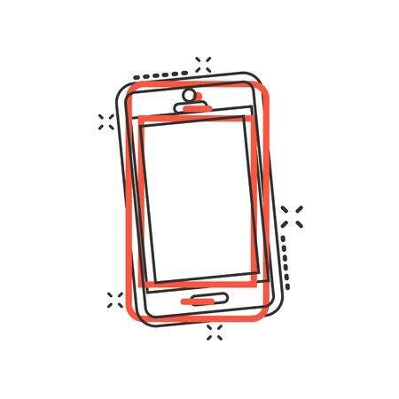 Phone device sign icon in comic style. Smartphone vector cartoon illustration on white isolated background. Telephone business concept splash effect.