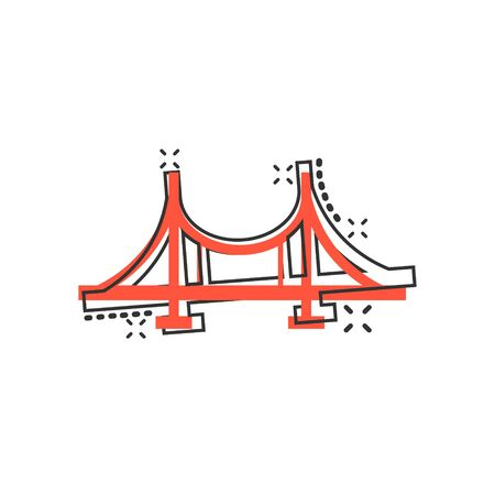 Bridge sign icon in comic style. Drawbridge vector cartoon illustration on white isolated background. Road business concept splash effect.