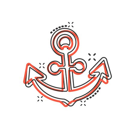 Boat anchor sign icon in comic style. Maritime equipment vector cartoon illustration on white isolated background. Sea security business concept splash effect.  イラスト・ベクター素材