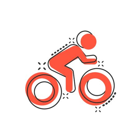 People on bicycle sign icon in comic style. Bike vector cartoon illustration on white isolated background. Men cycling business concept splash effect. Ilustração