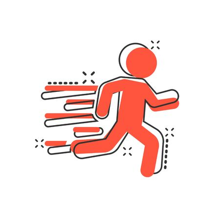 Running people sign icon in comic style. Run silhouette vector cartoon illustration on white isolated background. Motion jogging business concept splash effect.