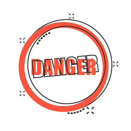 Exclamation mark icon in comic style. Danger alarm vector cartoon illustration on white isolated background. Caution risk business concept splash effect. Çizim