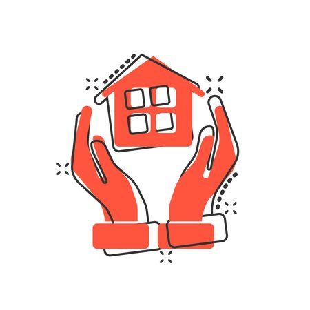 Home care icon in comic style. Hand hold house vector cartoon illustration on white isolated background. Building quality business concept splash effect.