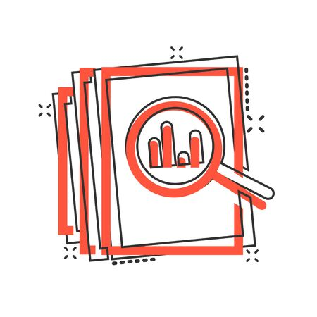 Audit document icon in comic style. Result report vector cartoon illustration on white isolated background. Verification control business concept splash effect.