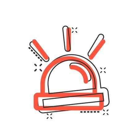 Icône de sirène d'urgence dans le style comique. Illustration de dessin animé de vecteur d'alarme de police sur fond isolé blanc. Effet d'éclaboussure de concept d'entreprise d'alerte médicale.