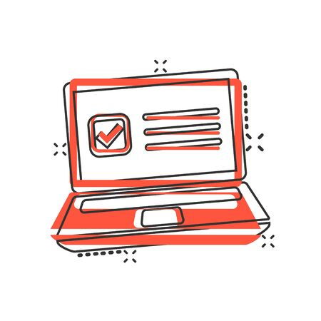 Questionnaire laptop icon in comic style. Online survey vector cartoon illustration on white isolated background. Checklist report splash effect business concept.