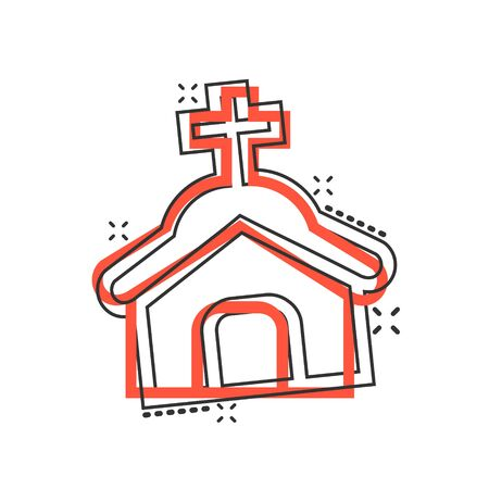 Church icon in comic style. Chapel vector cartoon illustration on white isolated background. Religious building business concept splash effect.  イラスト・ベクター素材