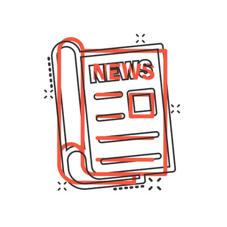 Newspaper icon in comic style. News vector cartoon illustration on white isolated background. Newsletter splash effect business concept. Stock Illustratie