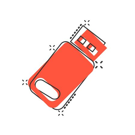 Usb drive icon in comic style. Flash disk vector cartoon illustration on white isolated background. Digital memory splash effect business concept.
