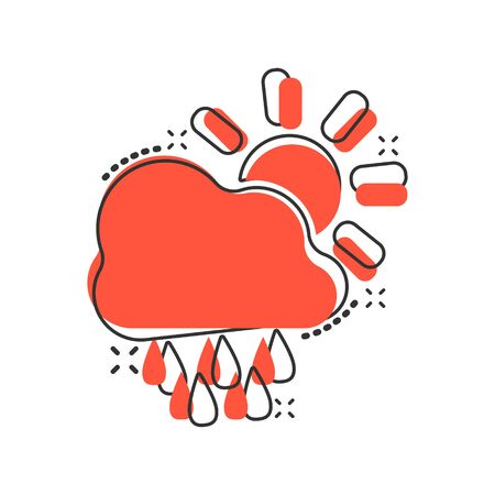 Vector cartoon weather forecast icon in comic style. Sun with clouds concept illustration pictogram. Cloud with rain business splash effect concept. Illustration