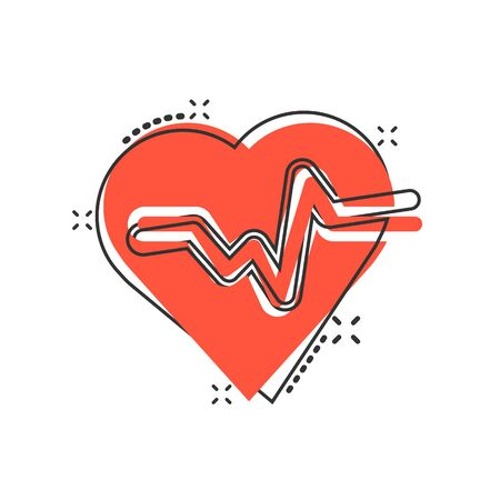 Vector cartoon heartbeat line with heart icon in comic style. Heartbeat concept illustration pictogram. Heart rhythm business splash effect concept. Ilustracja