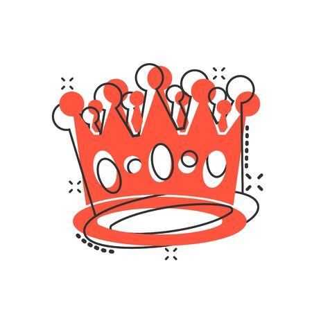 Vector cartoon crown diadem icon in comic style. Royalty crown illustration pictogram. King, princess royalty business splash effect concept. Stock Illustratie