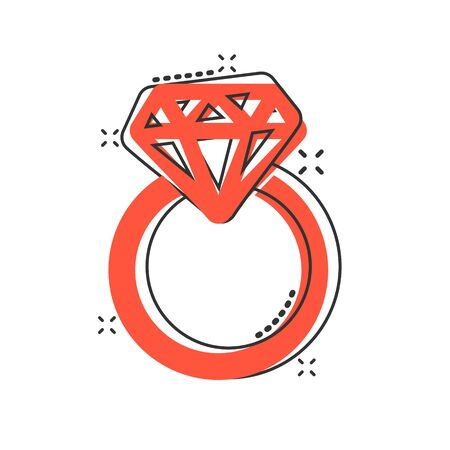 Vector cartoon engagement ring with diamond icon in comic style. Wedding jewelery ring illustration pictogram. Romance relationship business splash effect concept.