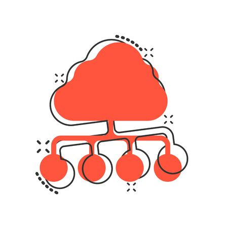 Vector cartoon cloud computing technology icon in comic style. Infographic analytics illustration pictogram. Network business splash effect concept. Ilustrace