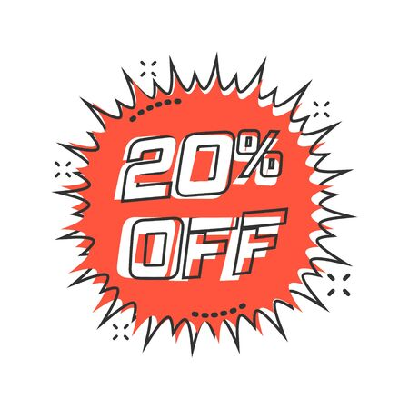 Vector cartoon discount sticker icon in comic style. Sale tag illustration pictogram. Promotion 20 percent discount splash effect concept.
