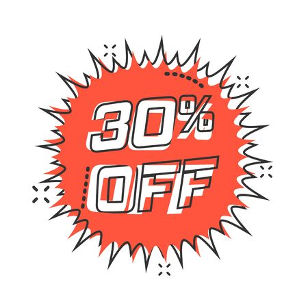 Vector cartoon discount sticker icon in comic style. Sale tag illustration pictogram. Promotion 30 percent discount splash effect concept.