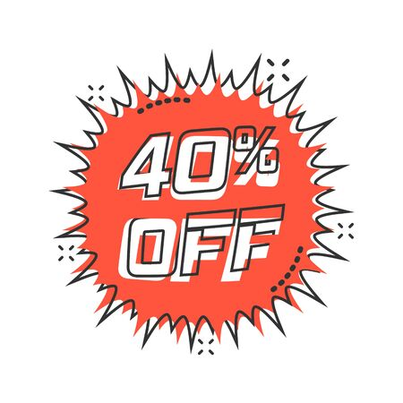 Vector cartoon discount sticker icon in comic style. Sale tag illustration pictogram. Promotion 40 percent discount splash effect concept.