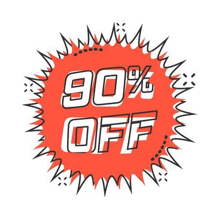 Vector cartoon discount sticker icon in comic style. Sale tag illustration pictogram. Promotion 90 percent discount splash effect concept. Illusztráció