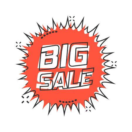 Vector cartoon discount sticker icon in comic style. Sale tag illustration pictogram. Promotion big sale discount splash effect concept.