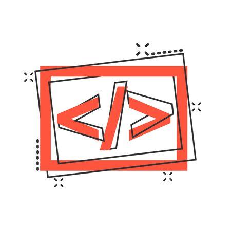 Icône open source de dessin animé de vecteur dans le style comique. Pictogramme d'illustration de concept de programmation API. Concept d'effet d'éclaboussure d'entreprise de technologie de programmeur.