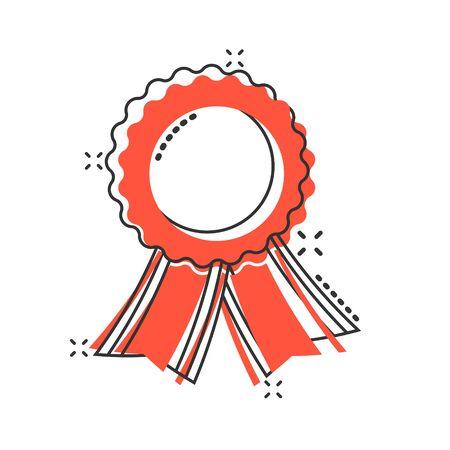 Vector cartoon badge with ribbon icon in comic style. Award medal sign illustration pictogram. Champion business splash effect concept. Illusztráció
