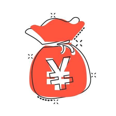 Vector cartoon yen, yuan bag money currency icon in comic style. Yen coin sack concept illustration pictogram. Asia money business splash effect concept.