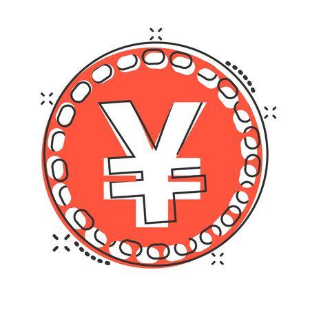 Vector cartoon yen, yuan money currency icon in comic style. Yen coin concept illustration pictogram. Asia money business splash effect concept.