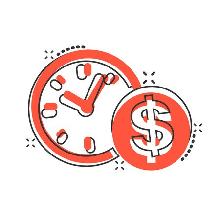 Vector cartoon business and finance management icon in comic style. Time is money concept illustration pictogram. Financial strategy business splash effect concept.