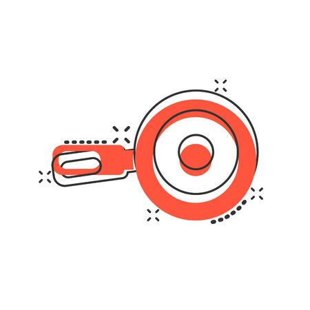Vector cartoon frying pan icon in comic style. Cooking pan concept illustration pictogram. Skillet kitchen equipment business splash effect concept. Çizim