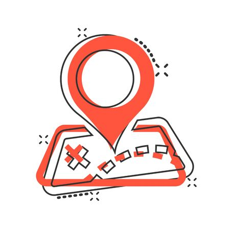 Pin map icon in comic style. Cartoon gps navigation vector illustration pictogram. Target destination business concept splash effect.