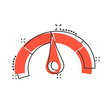 Meter dashboard icon in comic style. Credit score indicator level vector cartoon illustration pictogram. Gauges with measure scale business concept splash effect.