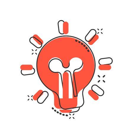 Light bulb icon in comic style. Lightbulb vector cartoon illustration pictogram. Lamp idea business concept splash effect.