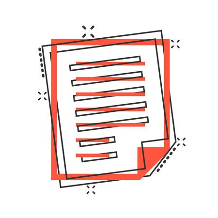 Document note icon in comic style. Paper sheet vector cartoon illustration pictogram. Notepad document business concept splash effect.