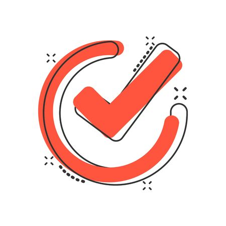 Check mark icon in comic style. Ok, accept vector cartoon illustration pictogram. Tick business concept splash effect. Archivio Fotografico - 132357495
