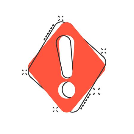 Exclamation mark icon in comic style. Danger alarm vector cartoon illustration pictogram. Caution risk business concept splash effect. 向量圖像
