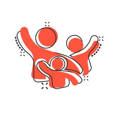 Family greeting with hand up icon in comic style. Person gesture vector cartoon illustration pictogram. People leader business concept splash effect.