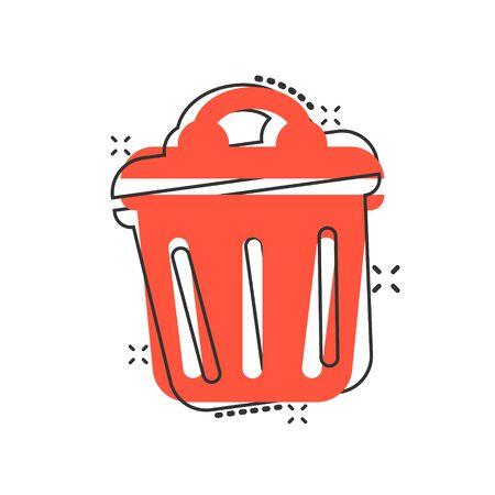 Trash bin garbage icon in comic style. Trash bucket vector cartoon illustration pictogram. Garbage basket business concept splash effect.