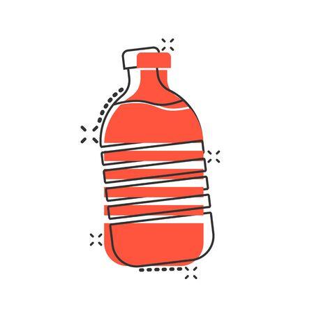 Water bottle icon in comic style. Plastic soda bottle vector cartoon illustration pictogram. Liquid water business concept splash effect. Ilustracja